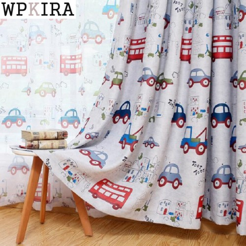 Jealous Cartoon Car Curtains Window Treatments Sheer Curtains For Kids Children Room Living Room Baby Boys