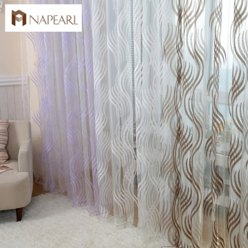 Modern style fashion design jacquard striped curtain tulle fabrics for bedroom window
