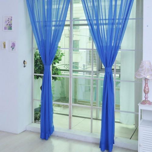 Pure Color Tulle Door Window Curtain 270cm x 100cm Drape Panel Sheer Scarf Valances Roller Blinds