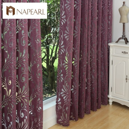 Ready made semi blackout curtains blind panel fabrics for window purple curtains living room window treatment