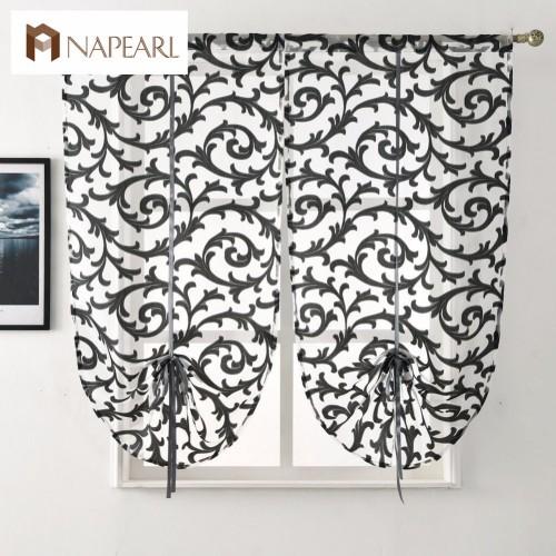 Short kitchen curtain modern window treatment tie up balloon curtain home textile sheer curtain panel tulle