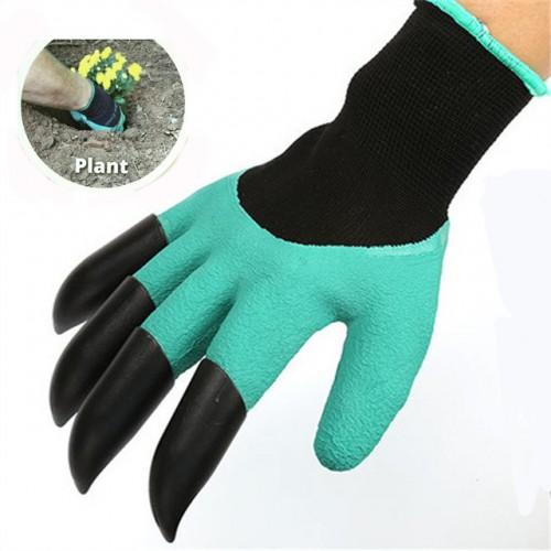 1 Pair New Gardening Gloves for Garden Digging Planting Garden Genie Gloves with 4 ABS Plastic.