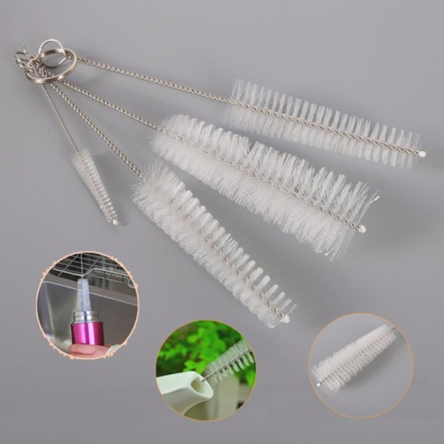 4pcs Straw Cleaning Brush Stainless Steel Wash Drinking Pipe Straw Brushes Brush Cleaner For Wineglass Bottle.