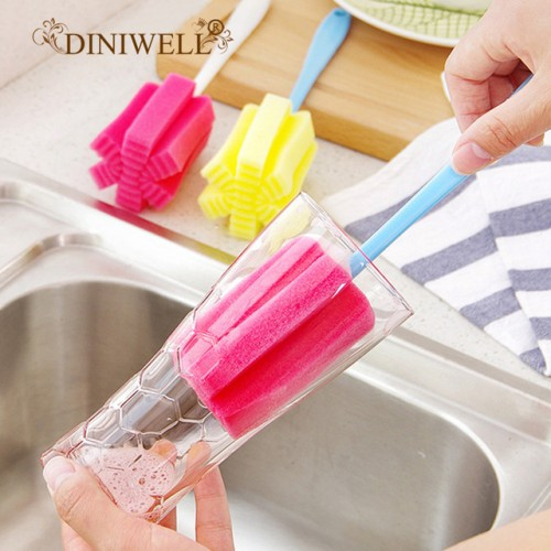DINIWELL Long Handle Easy Cup Brush Sponge Cleaner Cleaning Brush Bottle Glass Cup Scrubber Washing Cleaning.