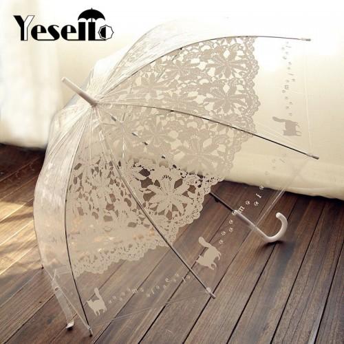 1PCS Romantic imitation lace Transparent cute cat Large long Rain Wind Umbrella For Lolita Women