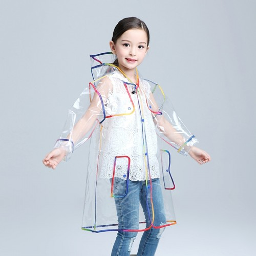 Children Raincoat EVA Transparent Clear Rainwear Hooded Outdoor Touring Rain Coat For Outdoor Travel Camping