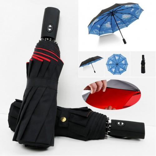 Full Automatic Oversize Reinforced Umbrella Three Folding Male Female Parasol Umbrella Rain Women Windproof Business Umbrella