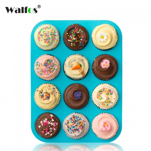 100 Real Silicone Muffin pan Baking Tray mini Cupcake mold cake tool Silicone Bakeware 12 Cup