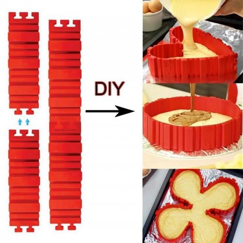 4 Pcs set Silicone bakeware Magic Snake cake mold DIY Baking square rectangular Heart Shape Round