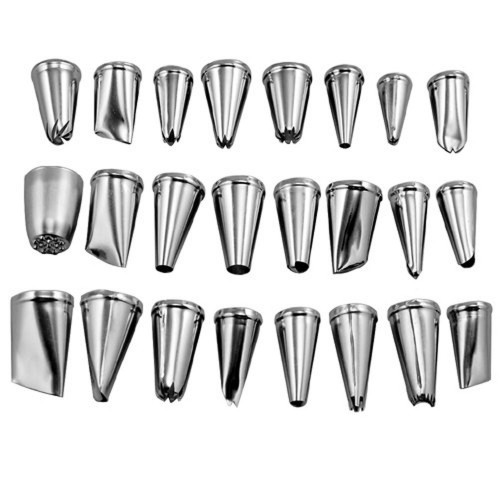 BornIsKing 24Pcs set Large Stainless Steel Icing Piping Nozzles Pastry Tips Set For Cake Decorating Sugar