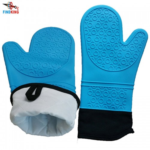 FINDKING 1 pcs Silicone Oven Mitts Ideal Protection with Extra Long Thick Quilted Cotton Liner Silicone