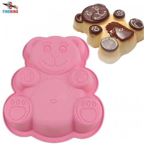 FINDKING 28 5 23 5 3 5cm 114g DlY Cartoon Bear Shape 3D Silicone Cake Mold