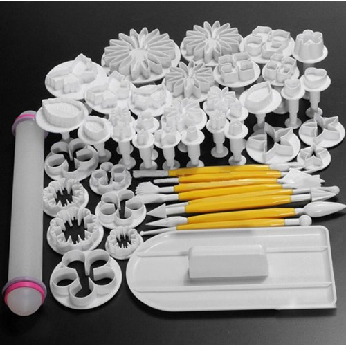 New 46Pcs set Fondant Cake Decorating Sugarcraft Plunger Cutter Tools Mold Cookies full set mold 03032