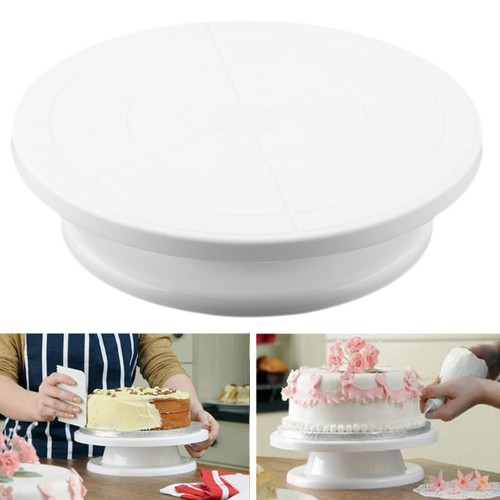 Plastic 11 28cm Cake Making Turntable Rotating Decorating Round Platform Stand Display Revolving Baking Tool Free