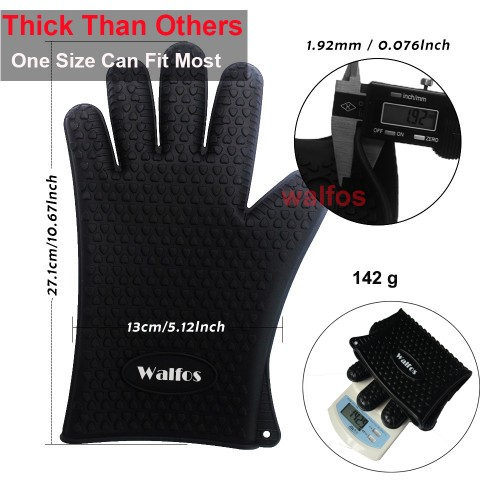 WALFOS 1 pc food grade Heat Resistant thick Silicone Kitchen barbecue oven glove Cooking BBQ Grill
