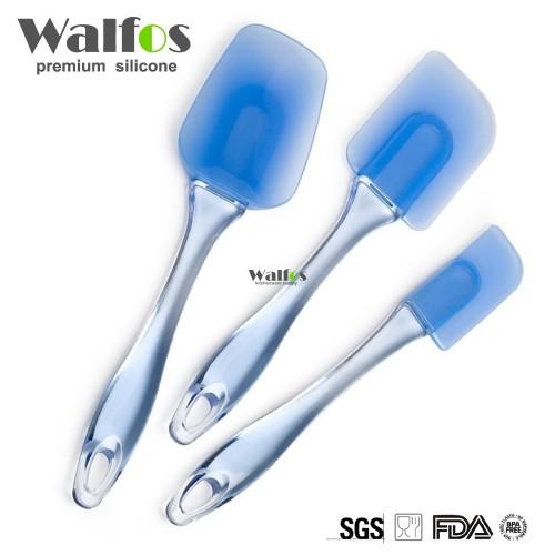 Walfos 3pcs set Kitchen Heat resistant Flexible Silicone Spatulas Flipping Serving Small Medium Spoon Baking Pastry