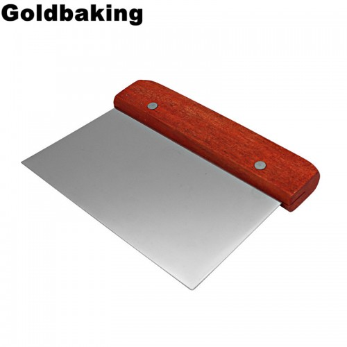 With Wood Handle Stainless Steel Pastry Chopper Baking Pasta Spatula Pastry Dough Scraper