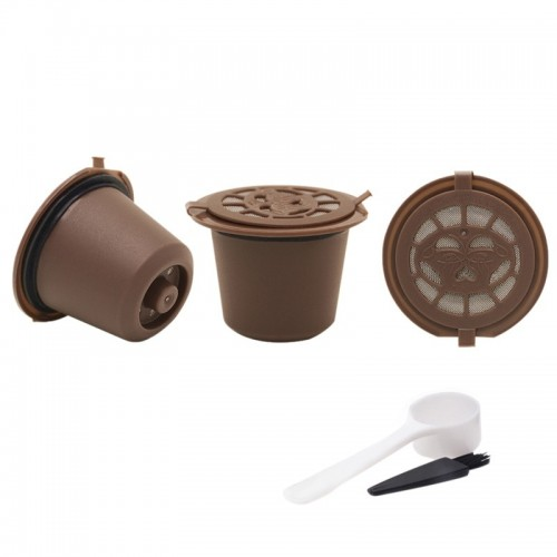 3pc Reusable Refillable Nespresso Coffee Capsule With Plastic Spoon Filter Pod and Brush 20ML Filters