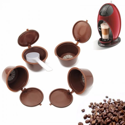 4Pcs set Nescafe Coffee Filters Dolce Gusto Coffee Capsule Plastic Capsule Refillable Reusable For Nescafe Dolce