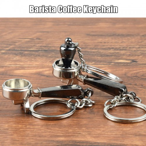 Coffee Tamper Handle Keychain Portable Zinc Alloy Keyring Coffeeware Tools Promotion Espresso Coffee Accessories Barista