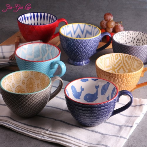 JIA GUI LUO Ceramic hand painted coffee cup Creative vintage cup supplies Embossed personality