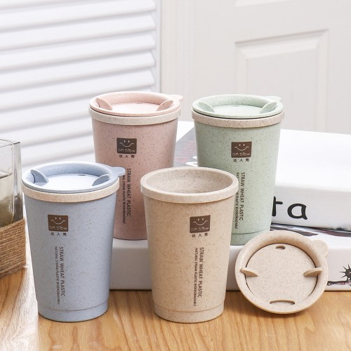 New 280ML Wheat Straw Portable Double wall Portable Office Coffee Tea Cups