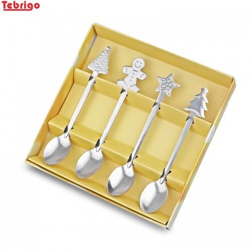 Tebrigo 1Pcs Christmas Spoon Stainless Steel Mixing Spoons Coffee TeaSpoons Christmas Dessert Snacks Tea spoon