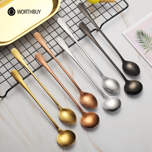 WORTHBUY 2 Pcs Set Colorful Coffee Scoop Stainless Steel Coffee Spoon With Long Handle Dessert Tea