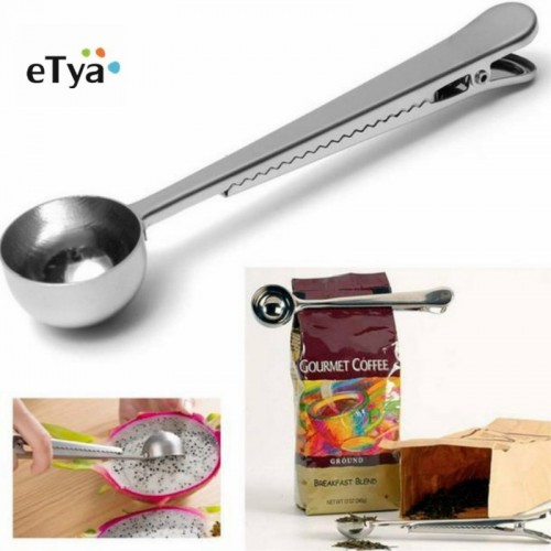 eTya 1PC Durable Stainless Steel Spoon With Bag Clip Ground Tea Coffee Scoop With Portable Bag