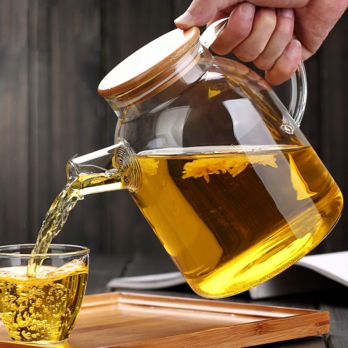 High Capacity Glass Kettle Handcraft Water Jug Chinese Flower Teapot Filter Bamboo Lid Heat Resistant Stainless