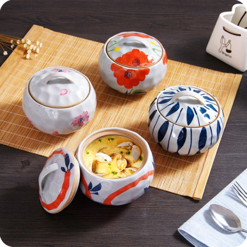 Japan Style Hand Painting Ceramic Slow Cooker With Lid Water resisting Stew Pot Egg Dessert Bowl.jpg 640x640