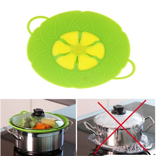 Multi function Cooking Tools Flower Cookware Parts Green Silicone Boil Over Spill lid Stopper Oven Safe