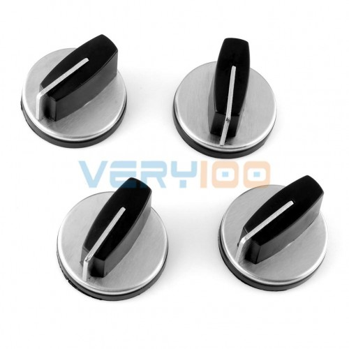 NEW 4pcs Kitchen Gas Stove Cooker Oven Control Rotary Switch Knobs Black Silver Tone Free Shipping