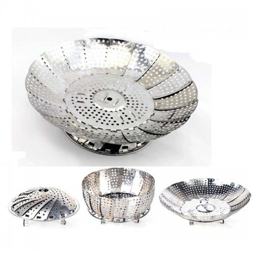 Retractable Stainless Steel Steamer and Folding Fruit Bowl bamboo steamer Poacher Cooker Kitchen accessories
