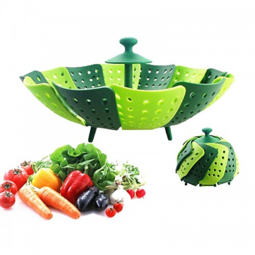 Silicone Folding Steamer Basket Retractable Steamer Rack Fruit Bowl Dessert Candy Plate Kitchen Accessories