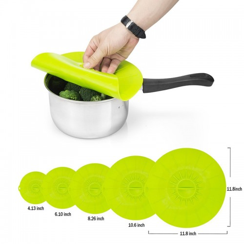 YOLALA 5pcs set Universal Silicone Cookware Pot Lid Cover Pan Pot Flower Shape Spill Stopper Cooking