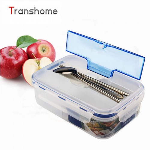 1000ml Bento Modern Transparent Portable Microwave Meal Box With Soup Bowl Dinnerware Sets