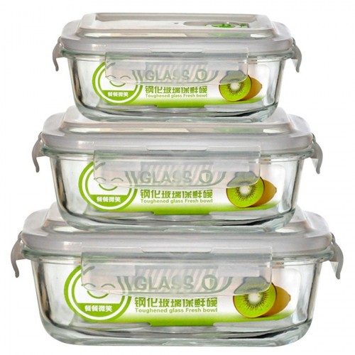 3 Size 1PCS High Quality Tempered Glass Food Container Transparent Microwave Glasslock Food Storage Container
