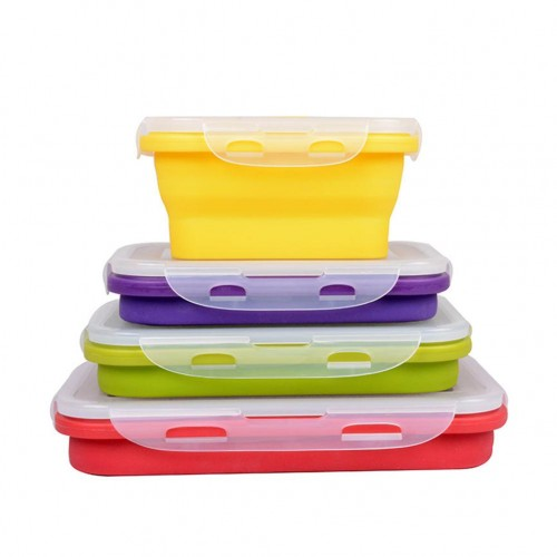 Silicone Collapsible Portable LunchBox Bowl Bento Boxes Folding Food Storage Container Lunchbox 350 1200ml