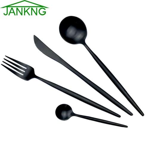 JANKNG 18 10 European Black Stainless Steel Dinnerware Set Luxury Matte Fork Knife Cutlery Set Dinner