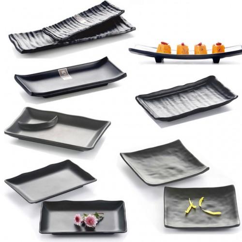 Japan and South Korea style black melamine Sushi Platter thickened buffet restaurant hall Hot pot restaurant.jpg 640x640
