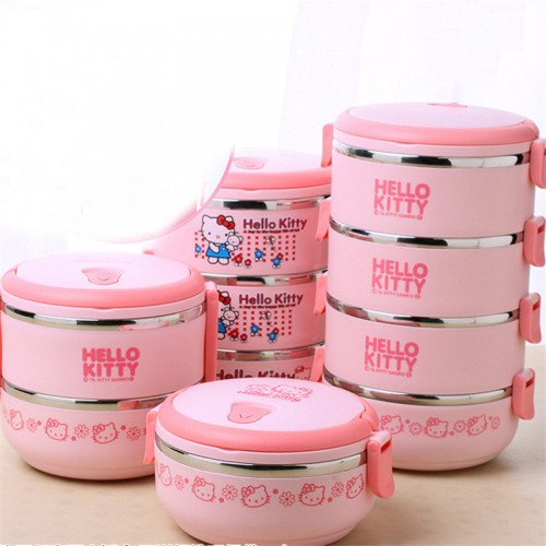 Multilayer Lunch Boxs Food Thermo Lunch boxs Hello kiity Deraemon Kids Portable Thermal Bento Lunchbox PP