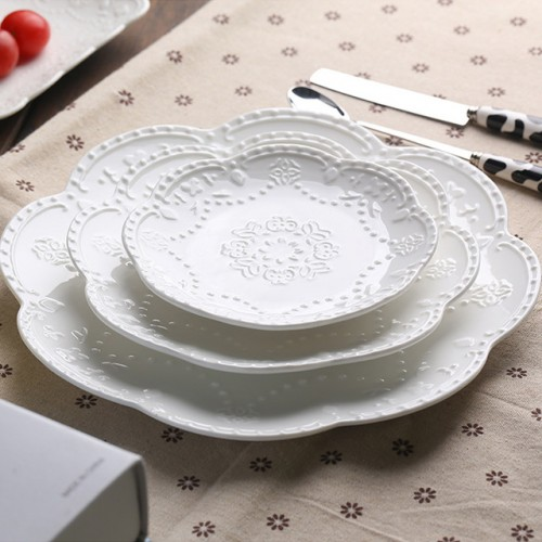 White Lace Bone China Dishes Plates Round embossed ceramic tableware dessert fruit cake plate.jpg 640x640
