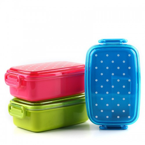 Portable Polka Dot Food Container bento Lunch boxs Kids fruit Snack Bento Microwave Lunchbox A4