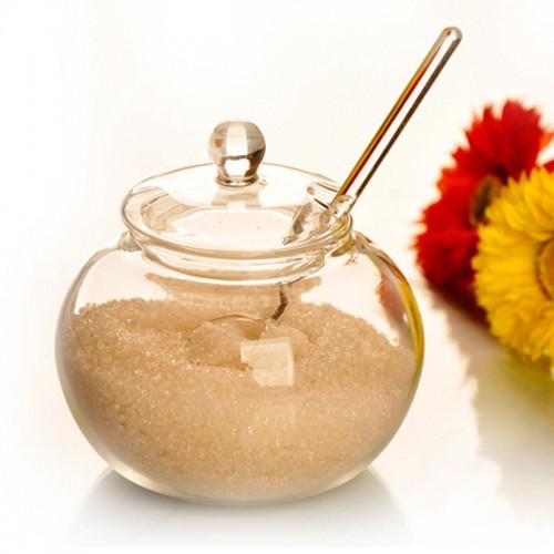SOLEDI Household Crystal 250ml Glass Jar Candy Sugar Bowl Saleros De Cocina with spoon free shipping