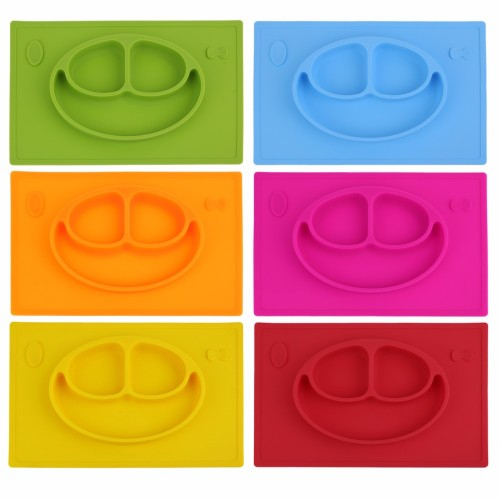 Silicone Smile Face Divided Plate Dish for Kids Toddler Divided Plates Platter Baby Feeding Utensils Dinner