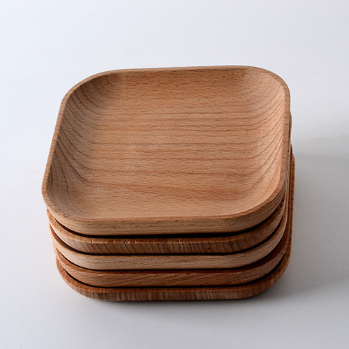 wooden tableware feeder Beech wood plate wood consolidation wooden square plate of 12