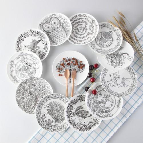 Top grade Black White Animal Bone China Cake Dishes And Plates Porcelain Pastry Fruit Tray Ceramic.jpg 640x640