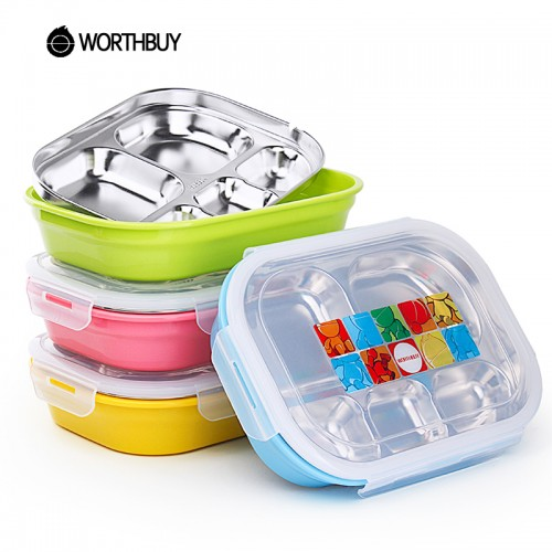 WORTHBUY 304 Stainless Steel Japanese Bento Box Water Heating Lunch Boxs Containers With Compartments Kid Food