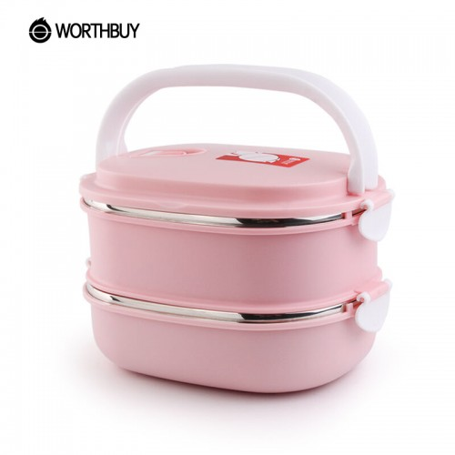 WORTHBUY Portable Food Container Storage Stainless Steel Bento Box Thermal Children Kids Lunch Boxs Picnic School